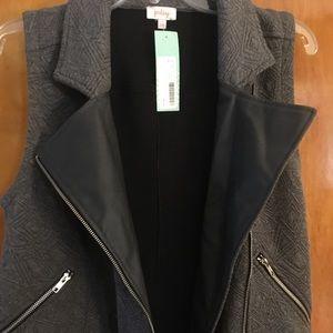 Pixley Faux Leather Lapel French Terry Vest